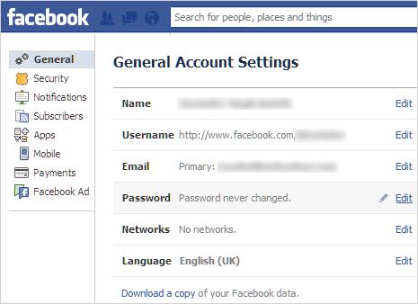 Guhindura Password zawe za facebook